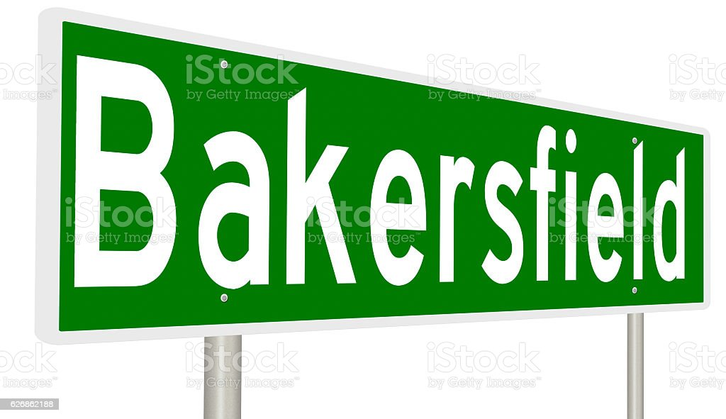 Highway sign for Bakersfield, California stock photo