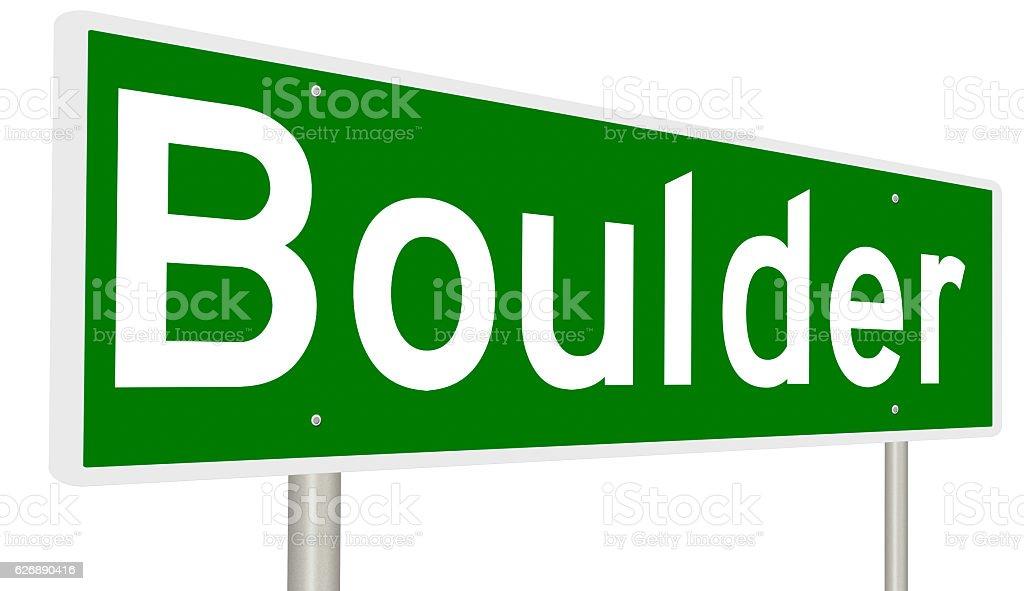 Highway sign for Boulder, Colorado stock photo
