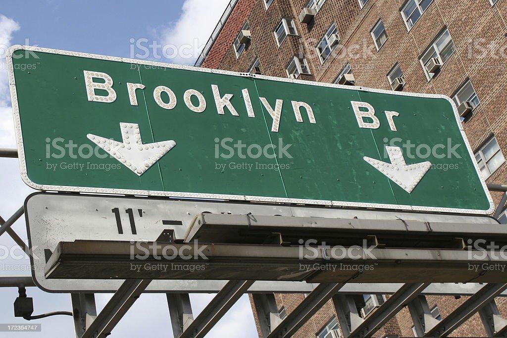 Highway sign for Brooklyn bridge stock photo