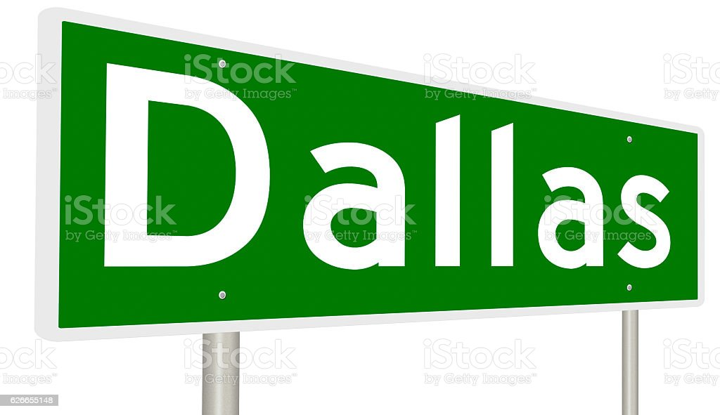 Highway sign for Dallas, Texas stock photo