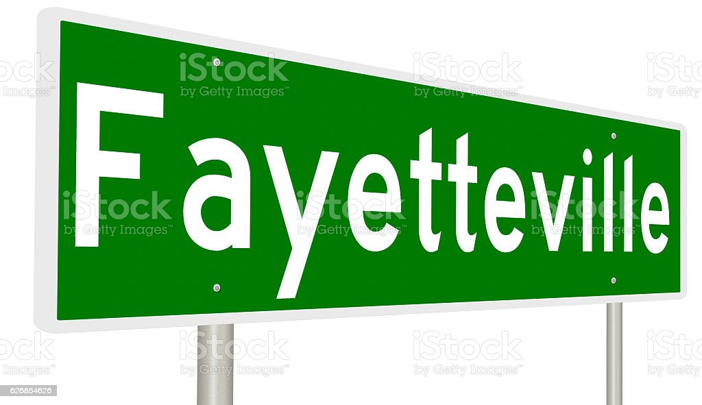 Highway sign for Fayetteville stock photo