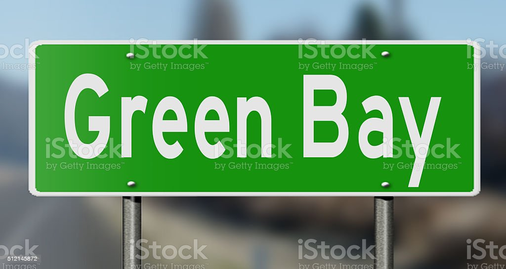 Highway sign for Green Bay stock photo