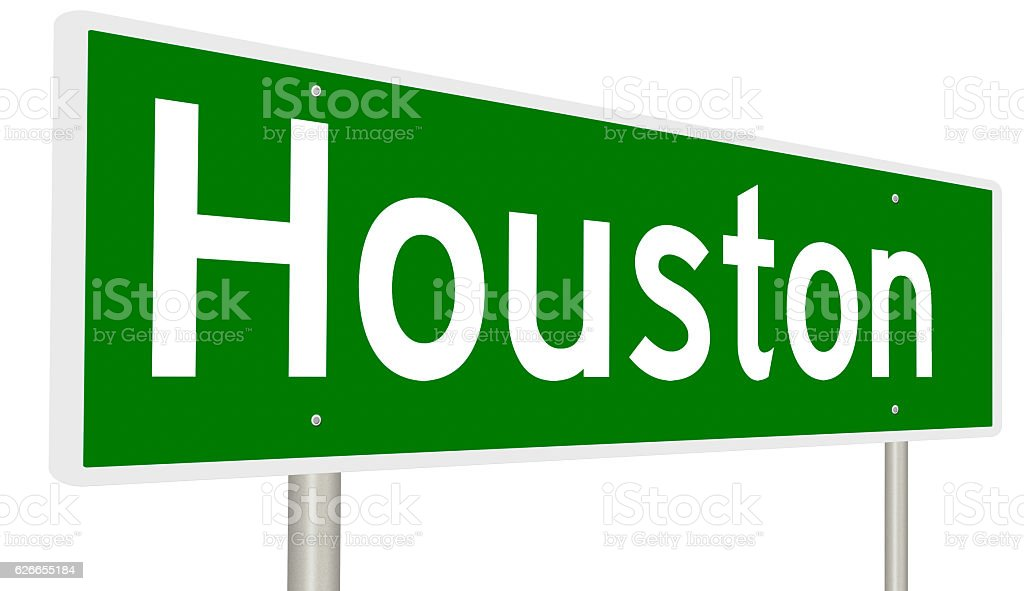 Highway sign for Houston, Texas stock photo