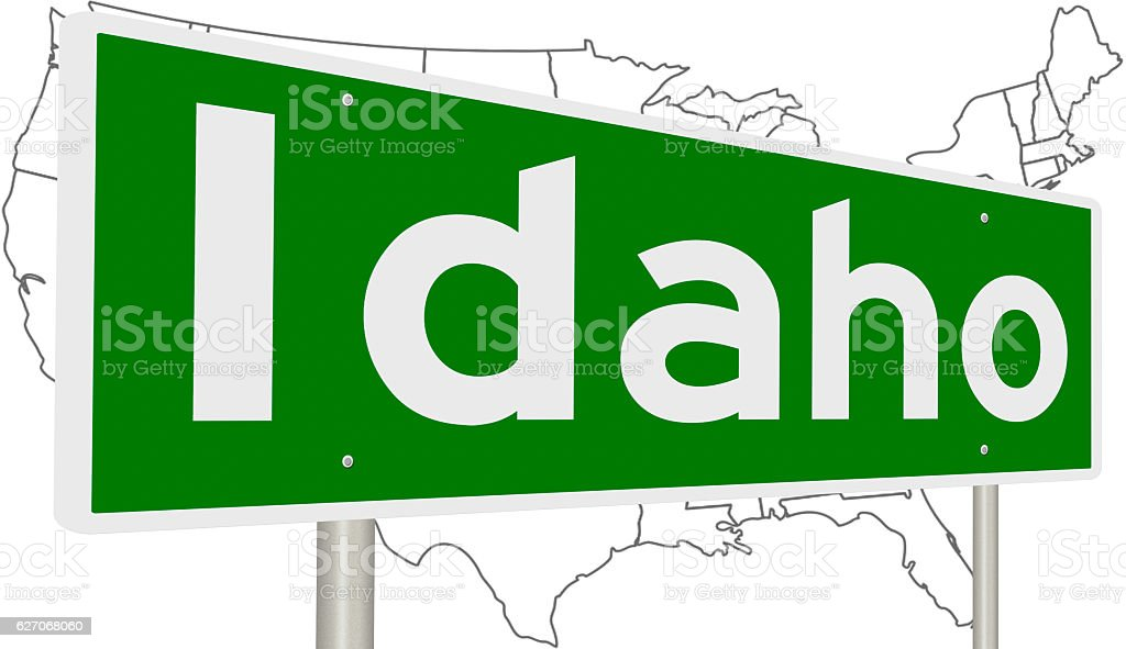 Highway sign for Idaho stock photo