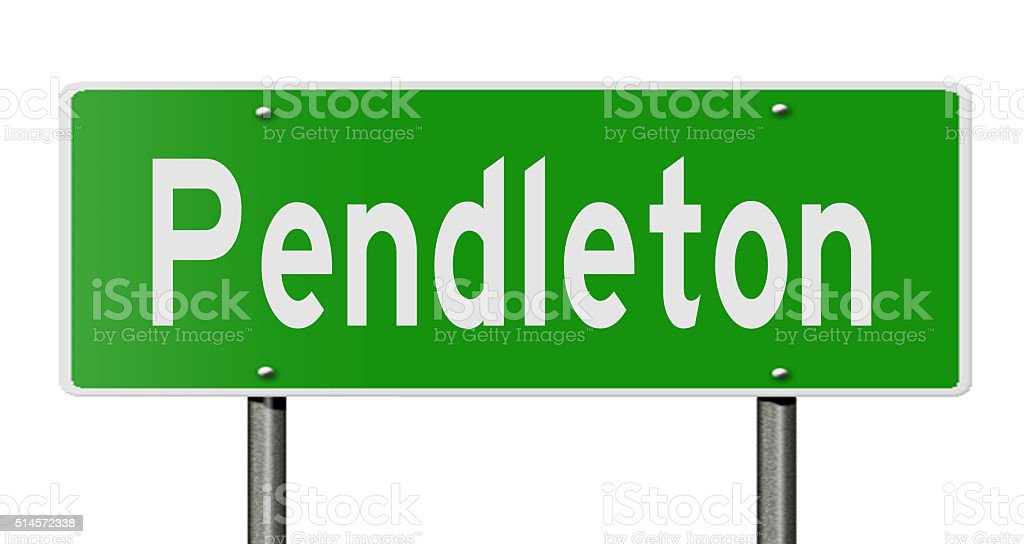Highway sign for Pendleton stock photo