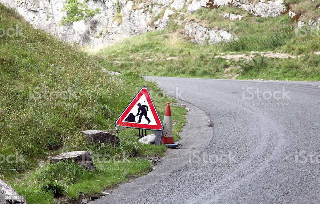 Highway sign for road works stock photo