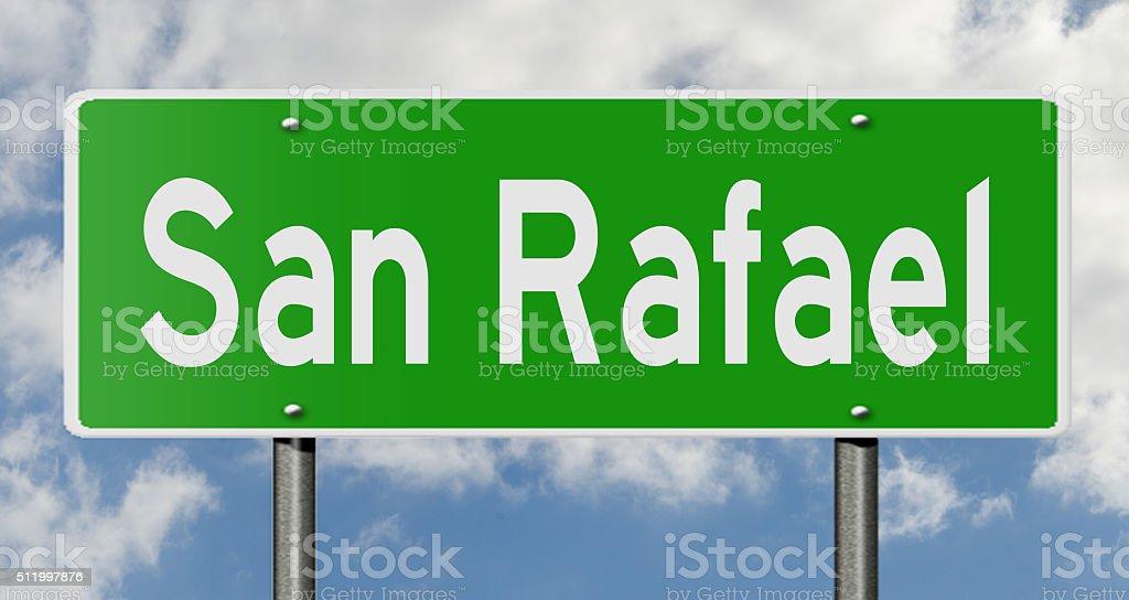 Highway sign for San Rafael stock photo