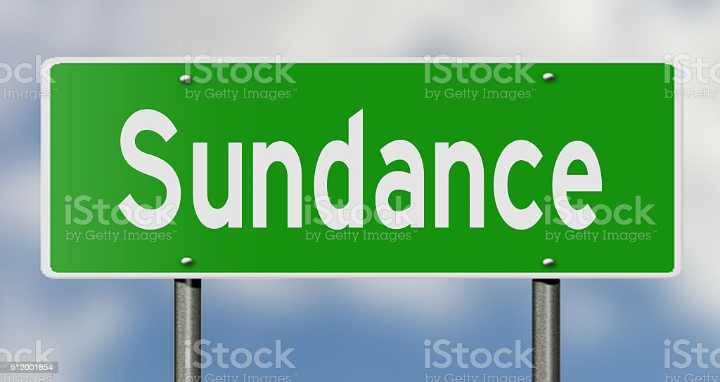 Highway sign for Sundance stock photo
