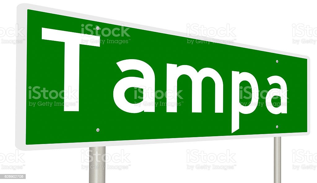 Highway sign for Tampa stock photo