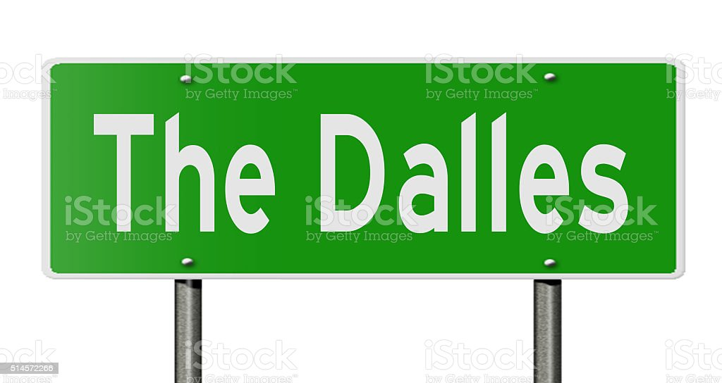 Highway sign for The Dalles stock photo