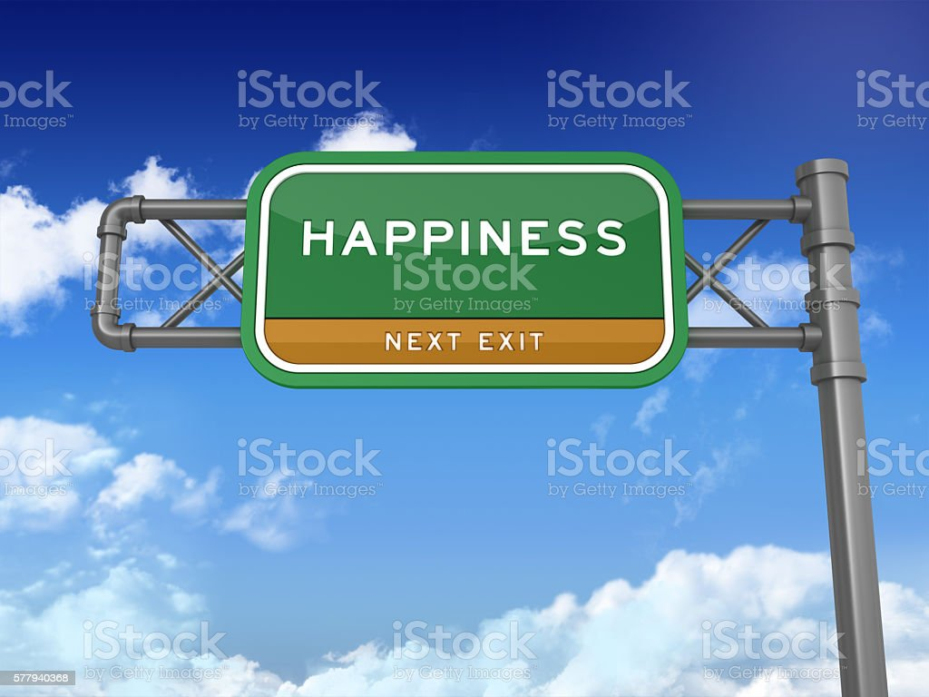 Highway Sign - HAPPINESS stock photo