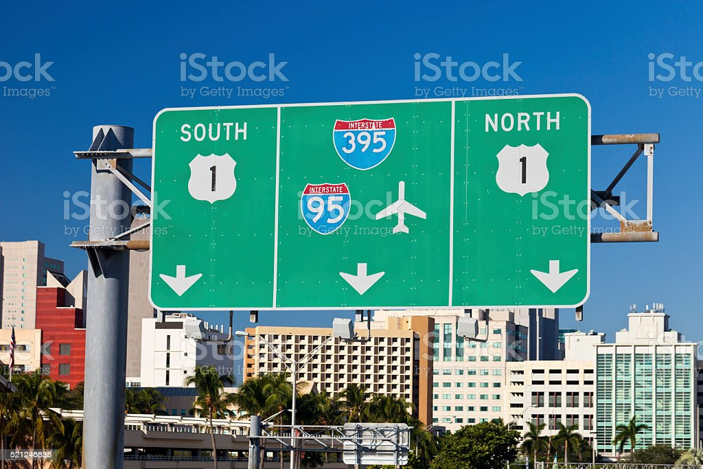 Highway Sign In Miami, Florida stock photo