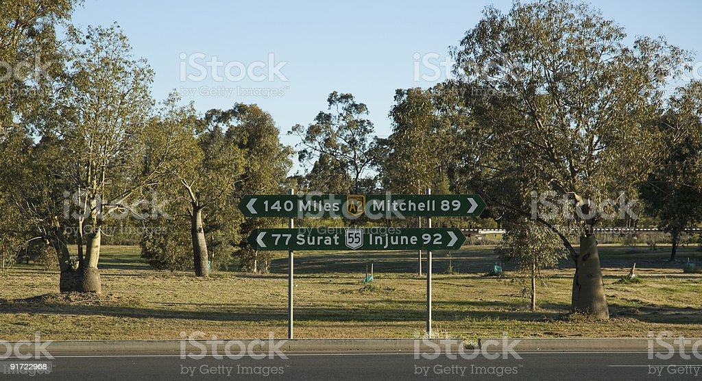 Highway sign in Roma, Queensland, Australia royalty-free stock photo