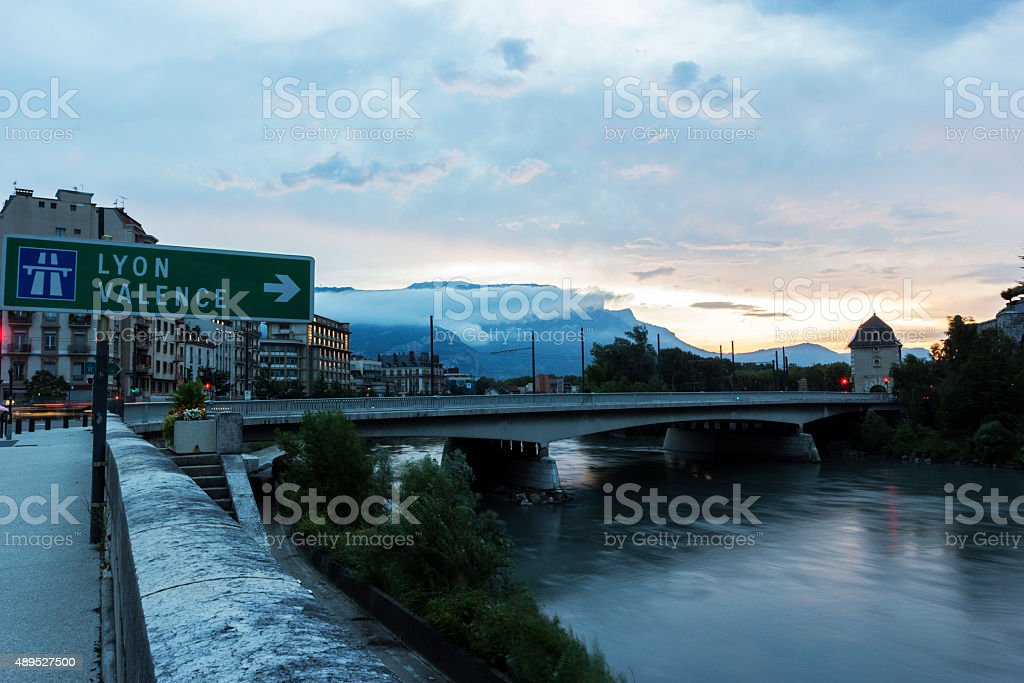 Highway sign on the street in Grenoble in France stock photo