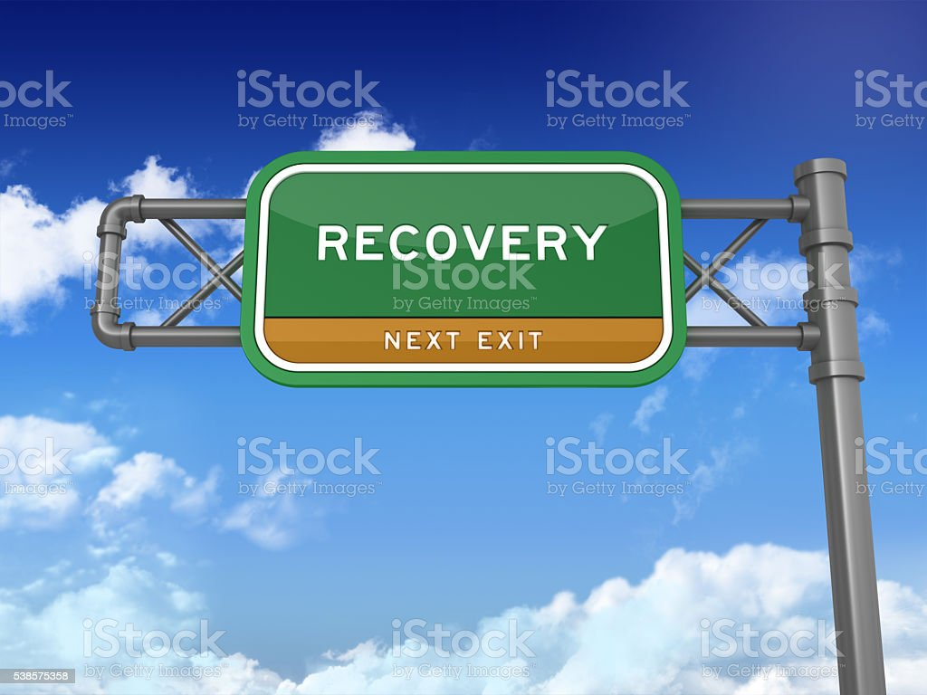 Highway Sign - RECOVERY stock photo