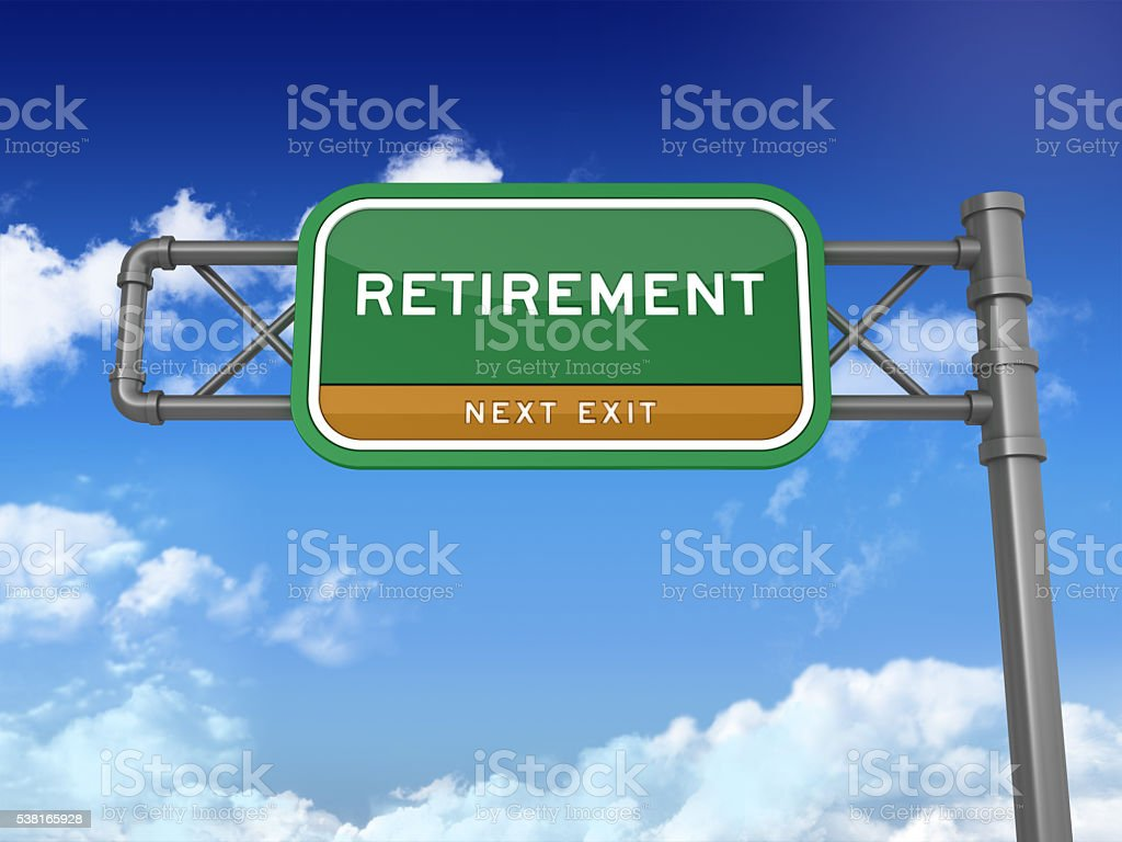 Highway Sign - RETIREMENT stock photo