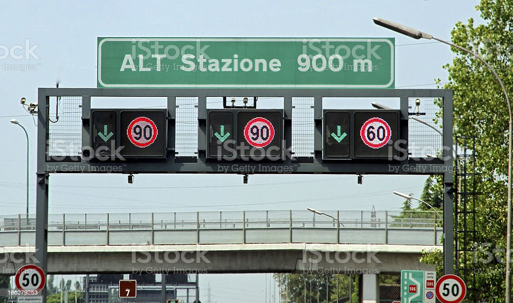 highway sign traffic signs and speed limits stock photo