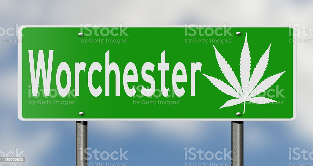 Highway sign with marijuana leaf for Worchester stock photo