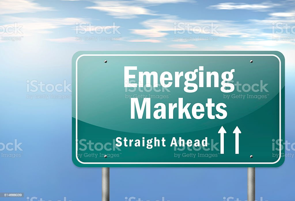 Highway Signpost Emerging Markets stock photo