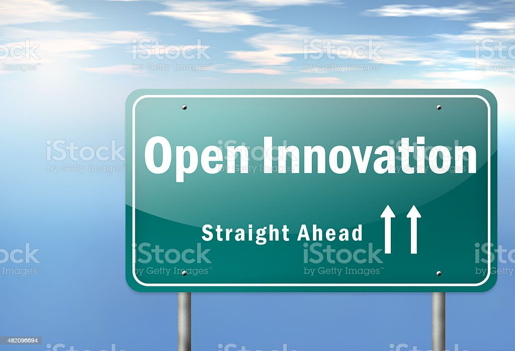 Highway Signpost Open Innovation stock photo