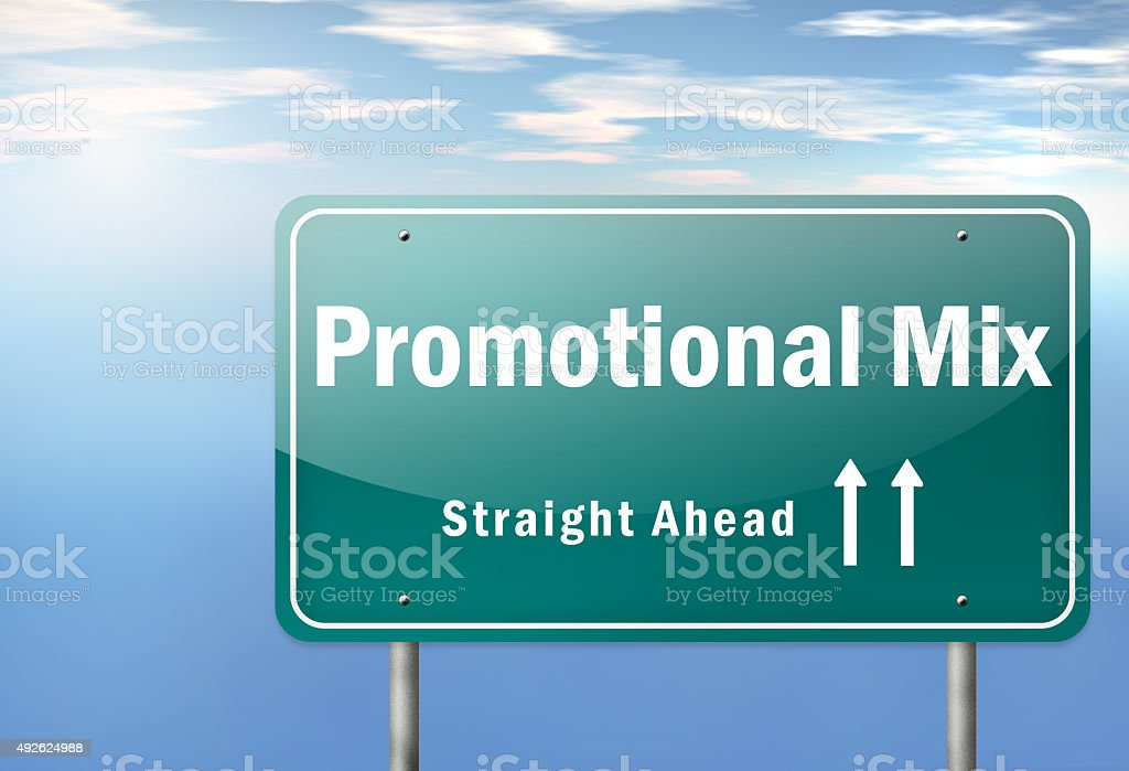 Highway Signpost Promotional Mix stock photo