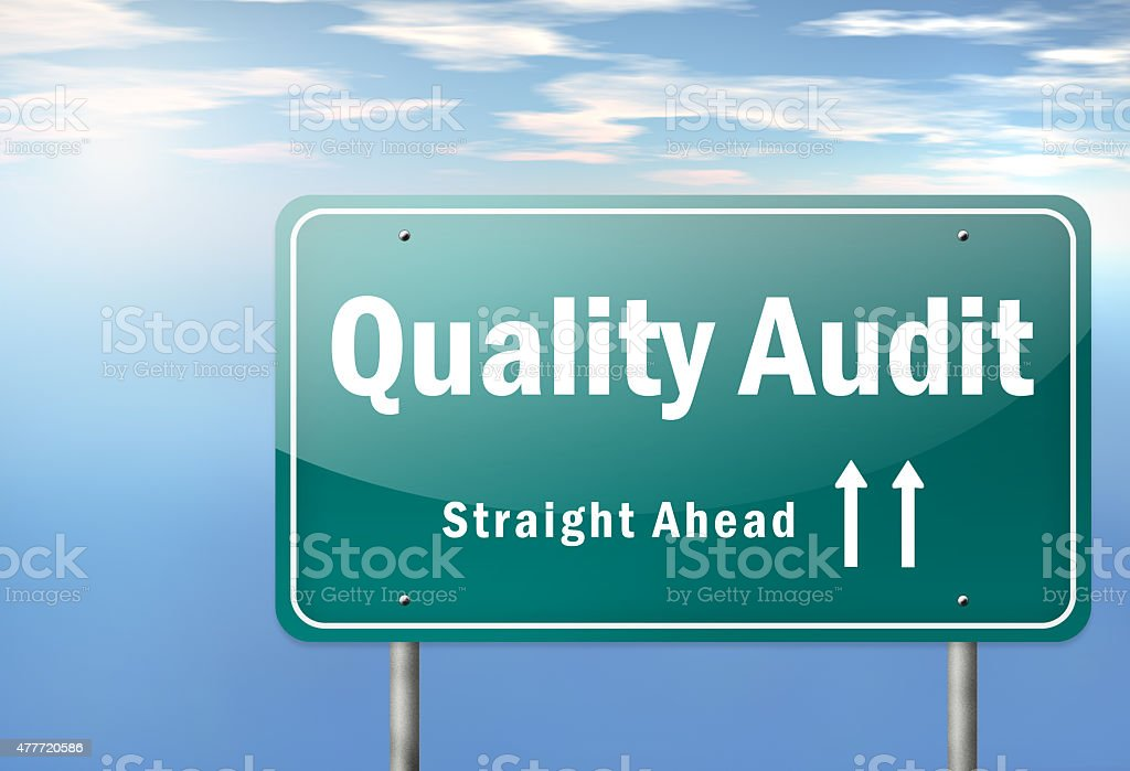 Highway Signpost Quality Audit stock photo