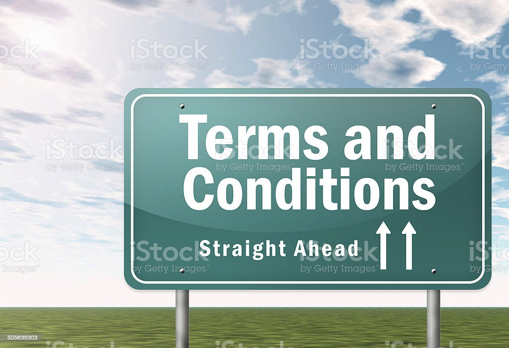 Highway Signpost Terms and Conditions stock photo