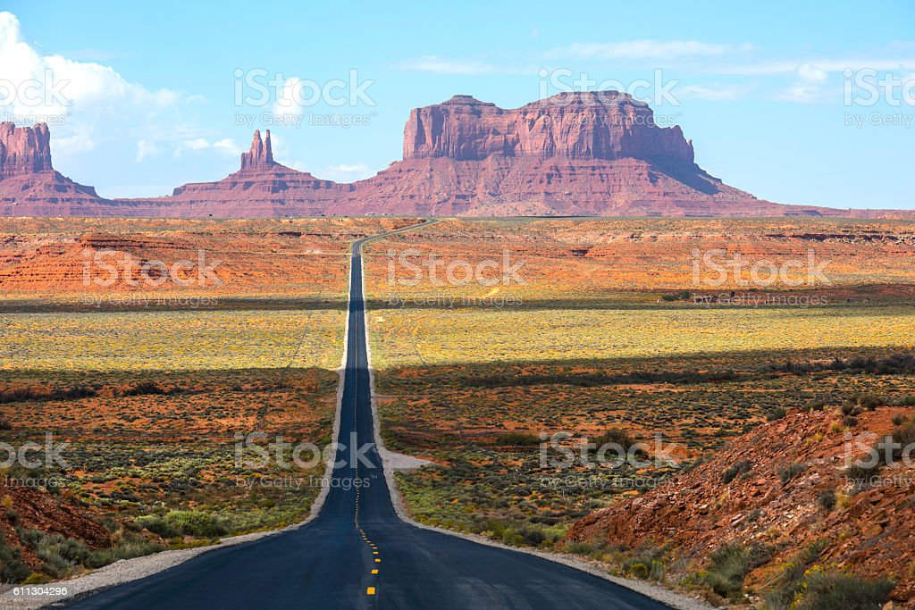Highway South 163 leading to Monument Valley stock photo