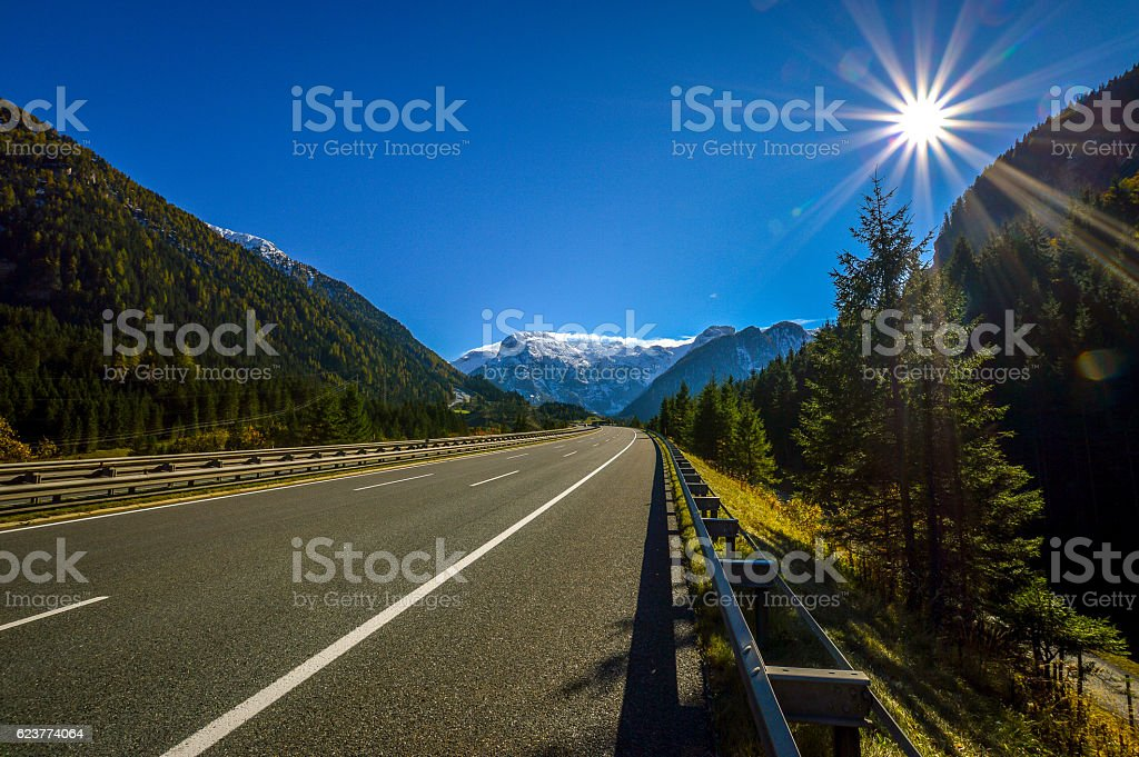 Highway Sunset Alps stock photo