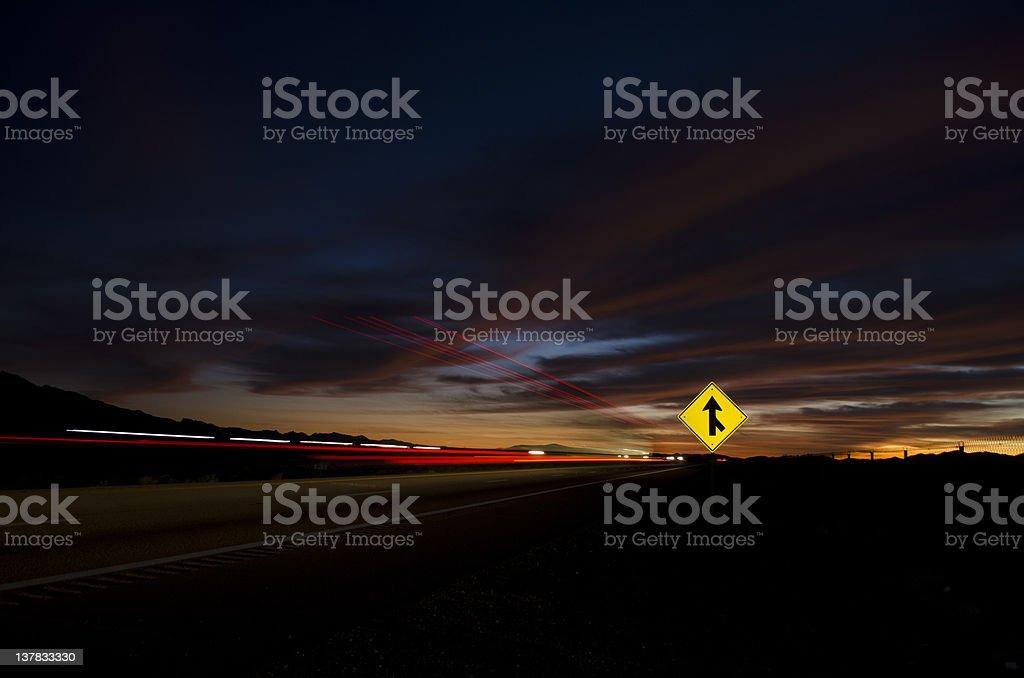 Highway Sunset stock photo