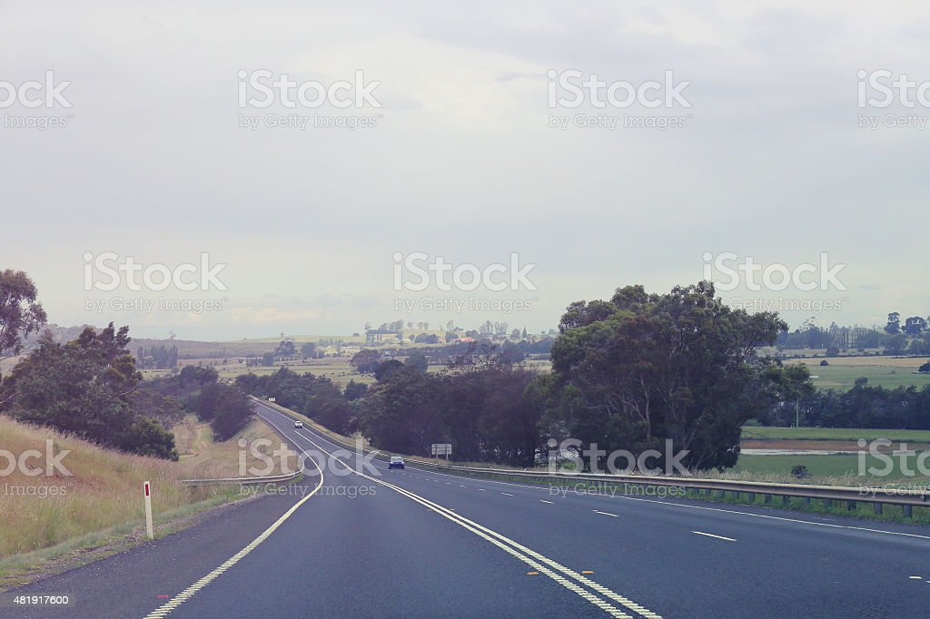 Highway through countryside - bleached stock photo