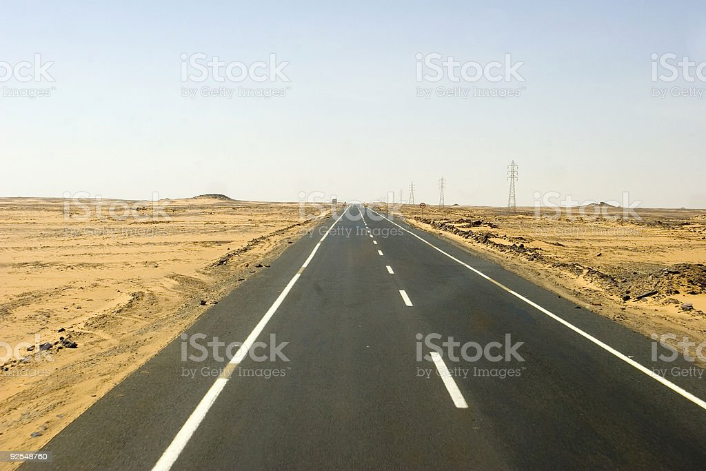 Highway Through Desert stock photo