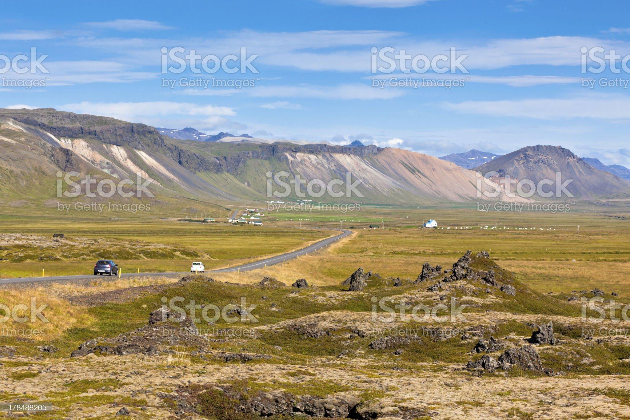 Highway through Mountains Icelandic landscape royalty-free stock photo