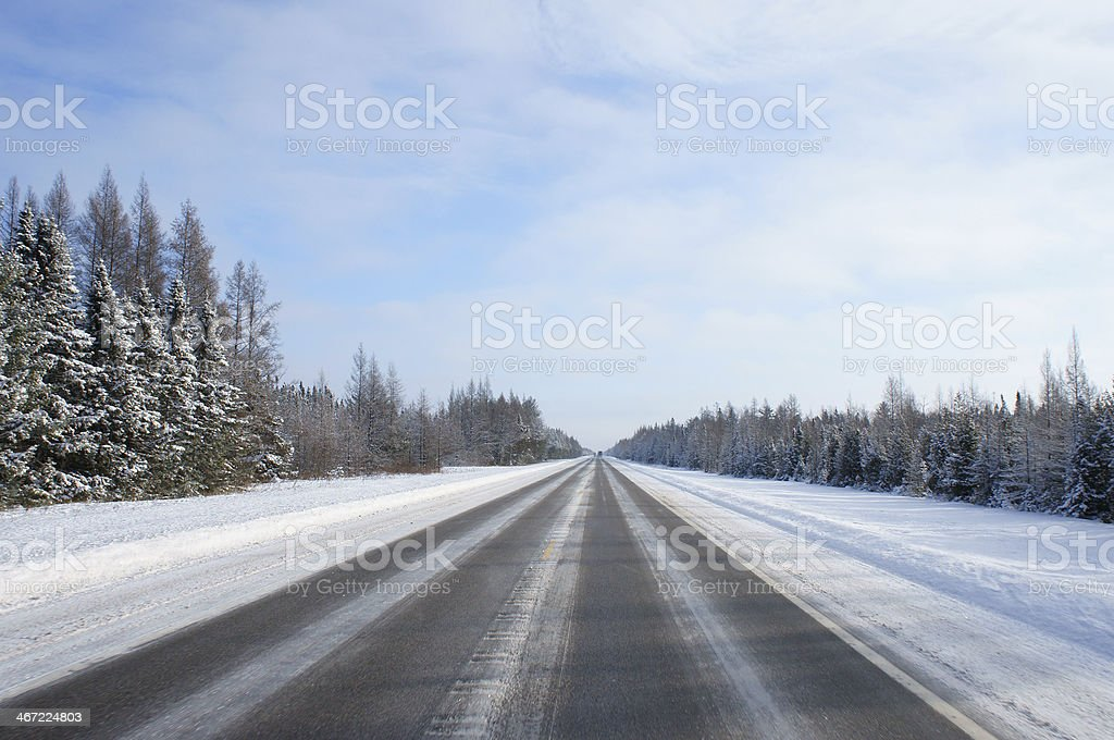 Highway Through Northern US in Winter royalty-free stock photo