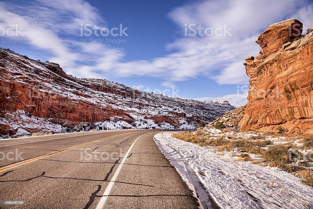 Highway Through Red Rocks stock photo