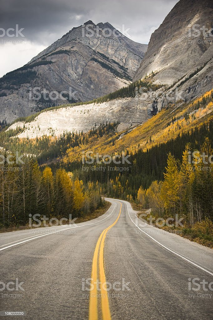 Highway Through Rocky Mountains royalty-free stock photo
