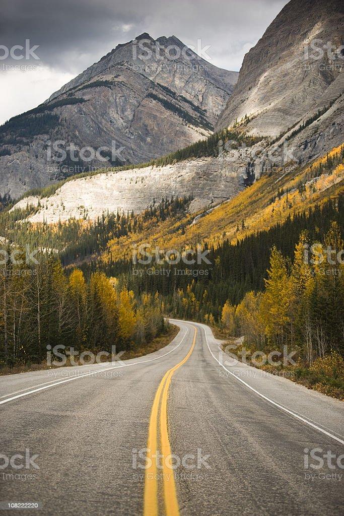 Highway Through Rocky Mountains stock photo