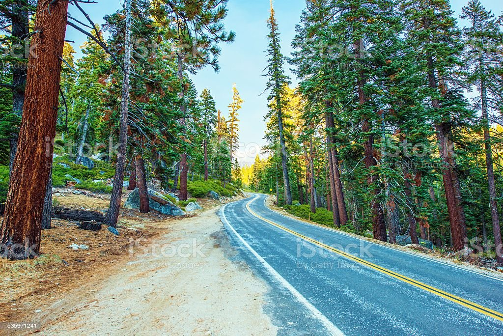 Highway Through Sierra Nevada stock photo