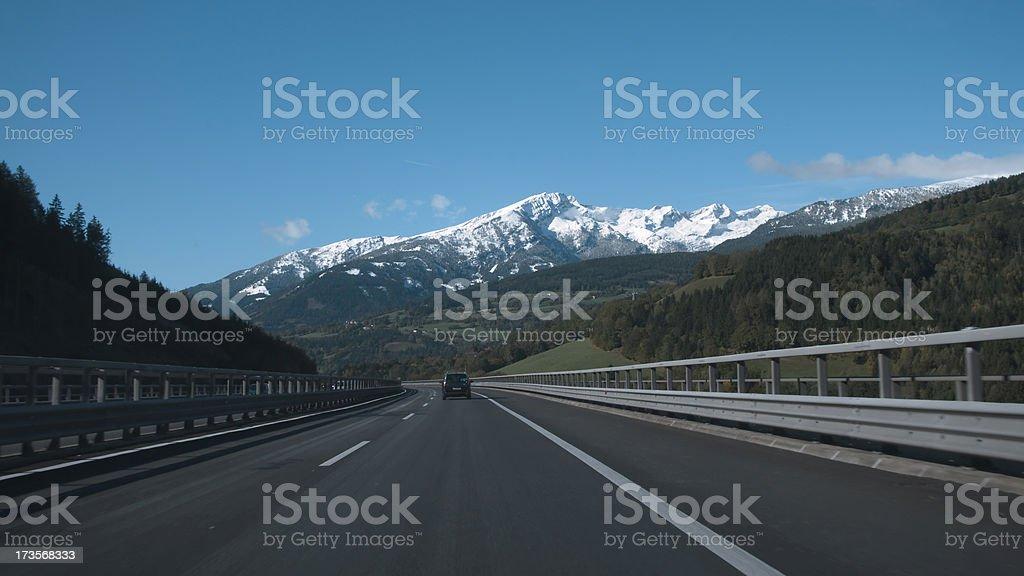 Highway through the mountains stock photo