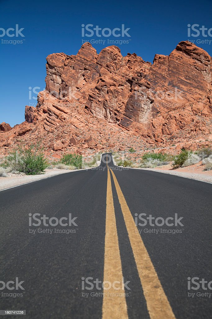 Highway through the Valley of Fire State Park royalty-free stock photo