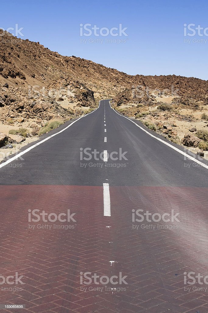 Highway through volcanic land royalty-free stock photo