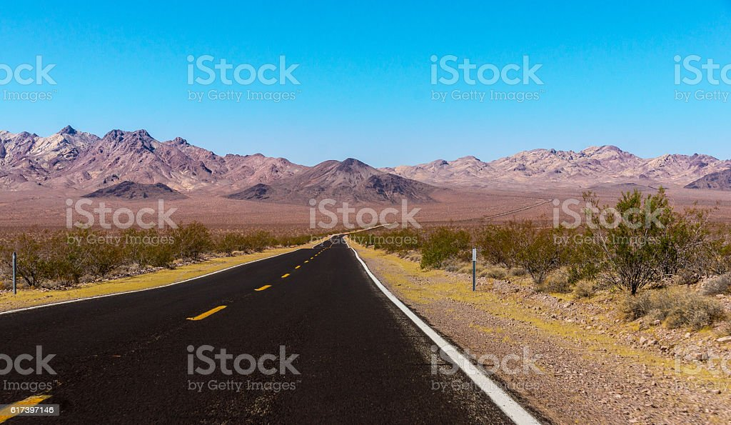 US Highway to death valley national park, California / Nevada stock photo