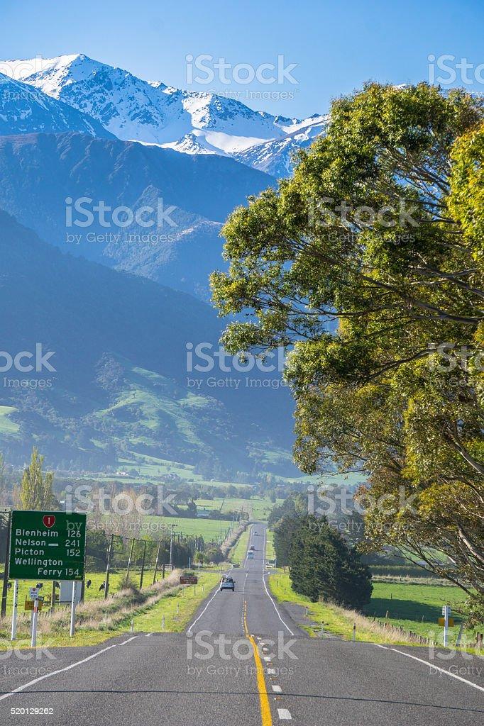 Highway to Kaikoura stock photo