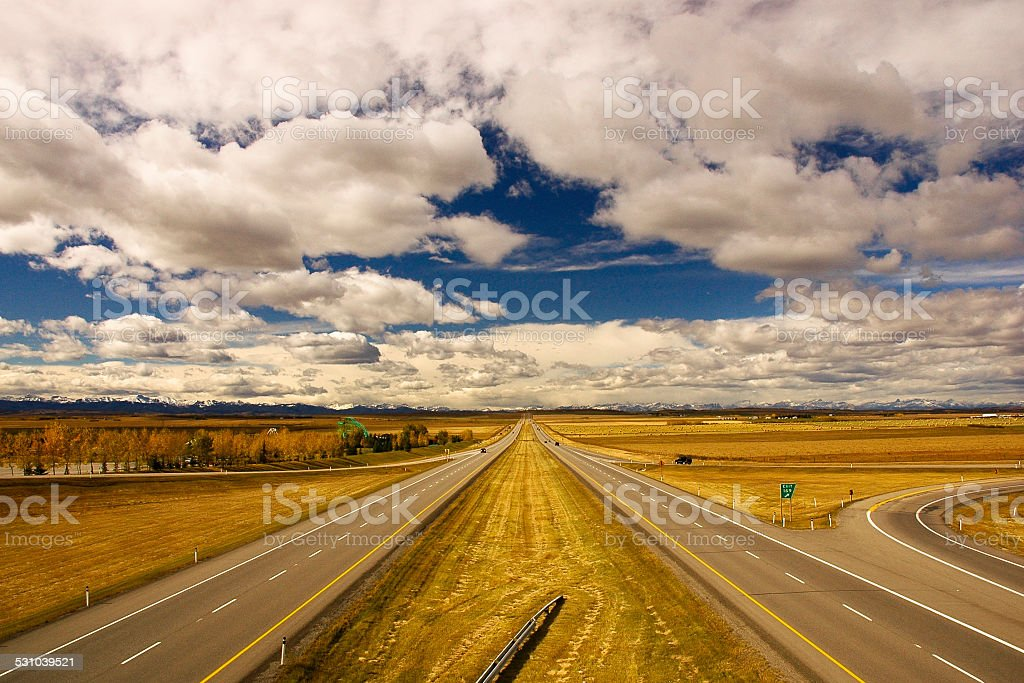 Highway to Rockies stock photo