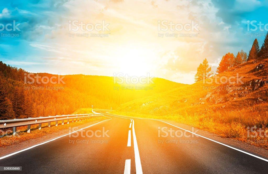 highway to sunset stock photo