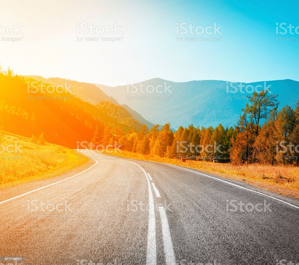 highway to sunset stock photo