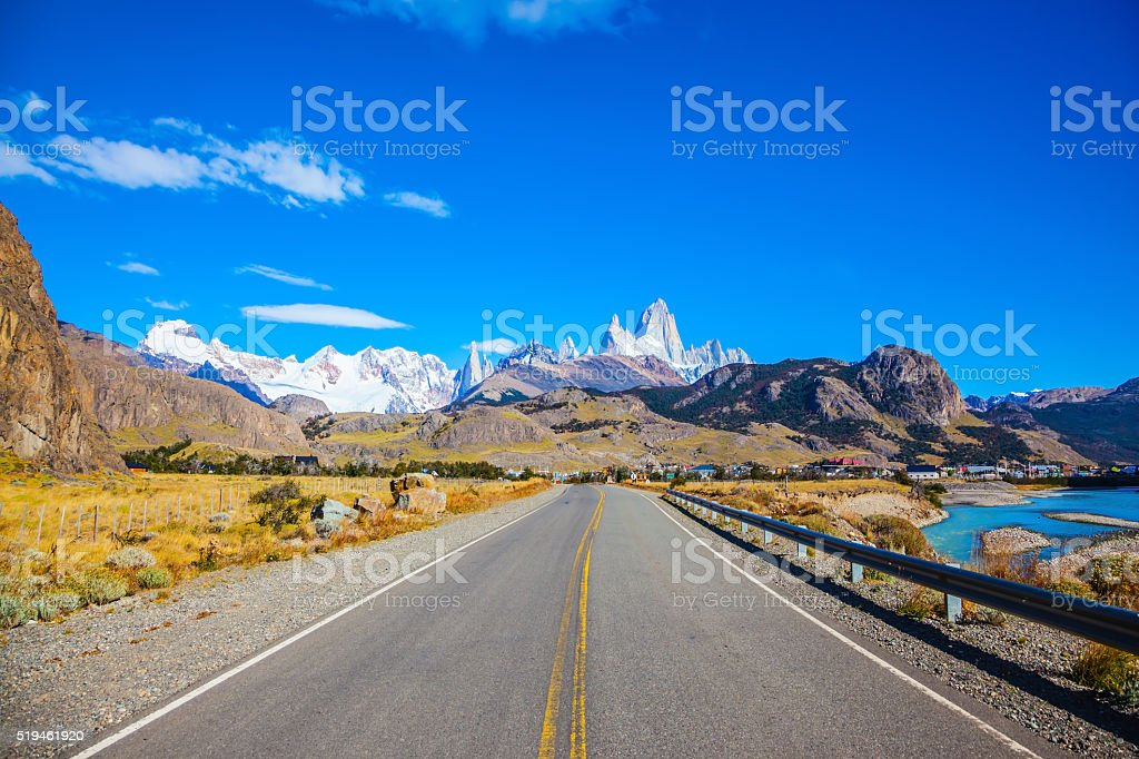 Highway to the majestic Mount Fitz Roy stock photo