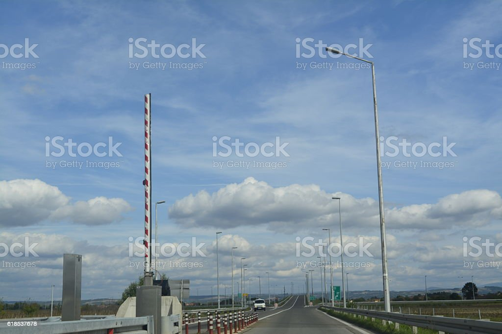 highway, toll booth stock photo