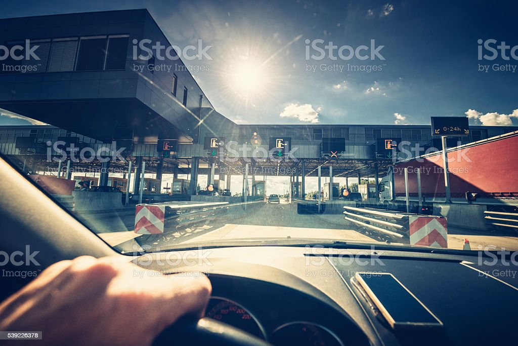 Highway toll station stock photo
