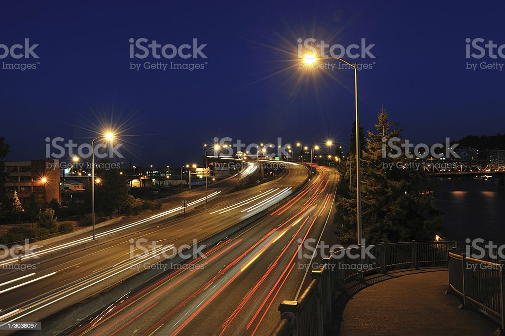 Highway Traffic at Portland royalty-free stock photo